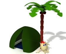Free Puppet Sitting Near Green Tent Under Palm Royalty Free Stock Photo - 19774205