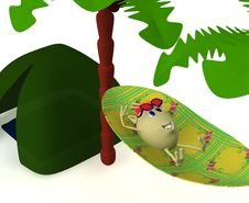 Free Puppet Resting Near Green Tent Under Palm Stock Photography - 19774222
