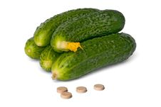 Free Some Fresh Cucumbers And Tablet Stock Photo - 19777030