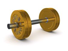 Free Dumbbell Of Golden Discs With The Inscription EURO Royalty Free Stock Photo - 19777335