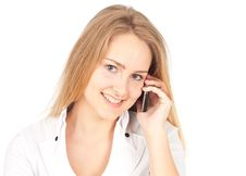 Free Young Business Woman Making A Phone Royalty Free Stock Image - 19777376