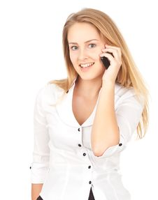 Young Business Woman Making A Phone Royalty Free Stock Images