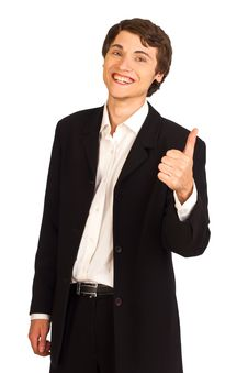 Happy Business Man Showing Thumbs Stock Photos