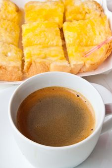 Breakfast With Coffee And Bread Stock Photo