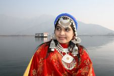 Free Beautiful Kashmiri Girl With Dal Lake Background Stock Photos - 19778143