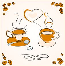 Free Two Cups Of Steaming Coffee Stock Images - 19778214
