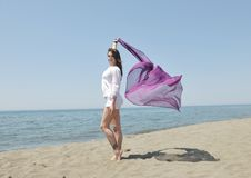Free Beautiful Young Woman On Beach With Scarf Stock Photo - 19778330