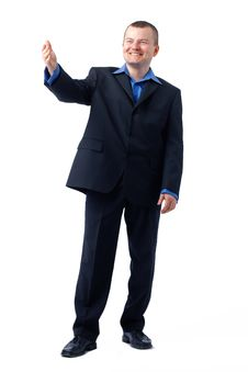Free Businessman Gesturing In Blue Shirt. Royalty Free Stock Photo - 19778455