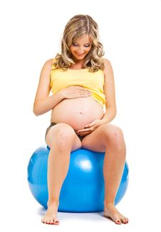 Free Pregnant Woman With Gymnastic Ball Stock Photography - 19778792