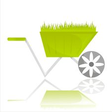 Garden Wheelbarrow With Grass Isolated On White Stock Photography