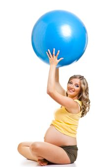 Free Pregnant Woman With Gymnastic Ball Royalty Free Stock Photo - 19778845