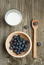 Free Bowl Of Fresh Blueberries And Glass Of Milk Stock Photography - 19781282
