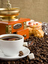 Free Cup Full Of Coffee, Beans, Pot And Grinder Stock Image - 19784281