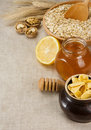 Free Plate Of Oat, Honey And Healthy Food On Sack Royalty Free Stock Photo - 19784365