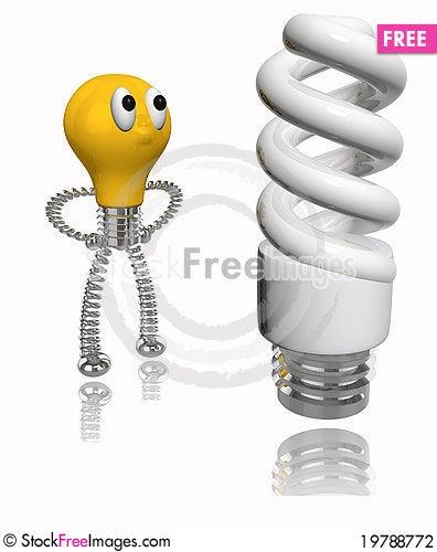 Free Orange Cartoon Bulb Looking At Energy Saving Bulb Stock Photography - 19788772