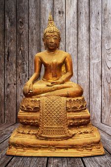 Old Antique Copper Buddha Sculpture Stock Image