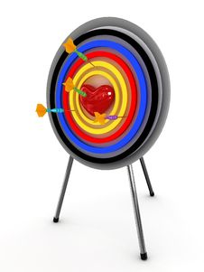 Heart On A Target With An Darts Royalty Free Stock Photography