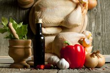 Free Vintage Mortar, Raw Chicken And Mix Of Vegetables Stock Images - 19781254