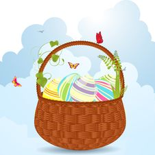 Easter Egg Basket Royalty Free Stock Image