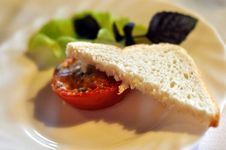 Free Baked Tomato With Toast Royalty Free Stock Image - 19781536