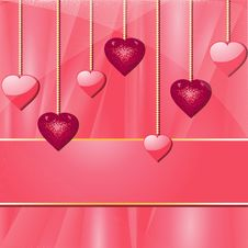 Free Pink Valentine Hearts And Banner Royalty Free Stock Photography - 19781537