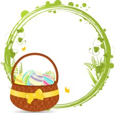 Easter Basket And Border Royalty Free Stock Images