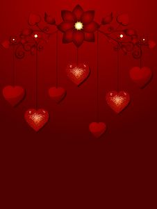 Free Dangling Valentine Hearts And Red Background Royalty Free Stock Image - 19781586