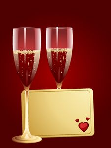 Champagne And Valentine Message Tag Royalty Free Stock Images