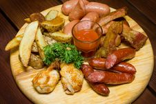 Sausage Meat On Plate Royalty Free Stock Photos