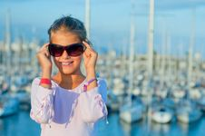 Free Portrait Of A Girl In The Background Of Yachts Royalty Free Stock Photo - 19782895