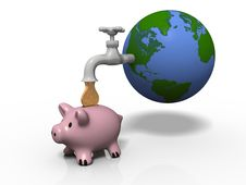 Free Money Drop From Earth Through A Faucet Stock Photography - 19783062