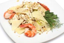Free Food - Salad With Shrimp On White Stock Image - 19783361