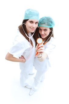 Free Nurses With Stethoscope Royalty Free Stock Photo - 19783725