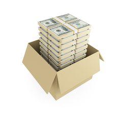 Free Lots Of Dollar Packs Inside Of Cardboard Box. Royalty Free Stock Photos - 19783908