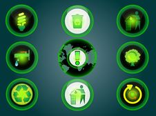 Free Glossy Recycle Icons Set Royalty Free Stock Photos - 19783978