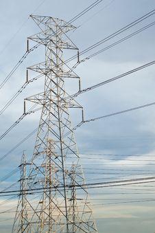 Free High Voltage Electricity Pillars Stock Photo - 19784040