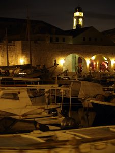 Free Dubrovnik Harbor At Night Royalty Free Stock Image - 19784056
