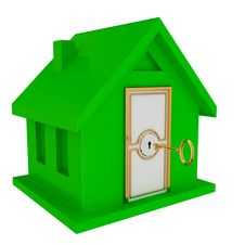 Free Green House With White Door And Golden Key. Royalty Free Stock Photos - 19784058