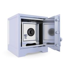 Opened Iron Safe And Another Safe Inside. Stock Photos