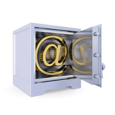 Free Iron Safe With Golden E-mail Sign Inside. Royalty Free Stock Photos - 19784098