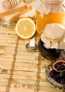 Coffee, Honey And Bread On Table Royalty Free Stock Images