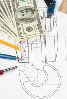Free Pen And Pencil, Dollars On Drafting Stock Photo - 19784370