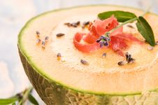 Melon Soup With Parma Ham And Lavender Royalty Free Stock Photos