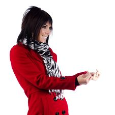Free Woman In Red Coat Gesturing Royalty Free Stock Photo - 19785595