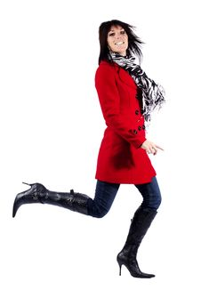 Free Woman In Red Coat Leaping Stock Image - 19785601