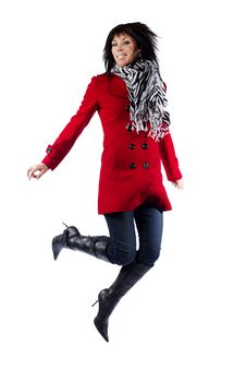 Free Woman In Red Coat Jumping Royalty Free Stock Photo - 19785605