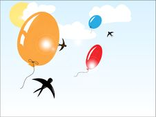 Free Balloons Flying In The Sunny Sky Royalty Free Stock Photo - 19785655