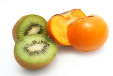 Free Kiwi & Kaki Fruit Royalty Free Stock Photos - 19787148