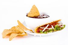 Free Mexican Tacos With Nachos Royalty Free Stock Photos - 19788308