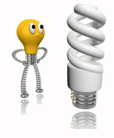 Free Orange Cartoon Bulb Looking At Energy Saving Bulb Stock Photography - 19788772